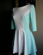 Miętowo biała sukienka S