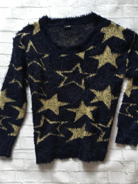 George włochaty granatowy sweterek XL