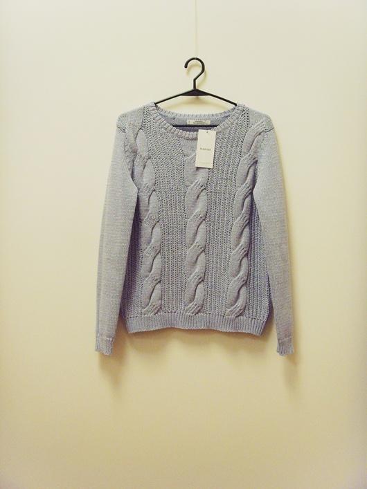 Nowy METKA Mango sweter błękitny warkocz 36...