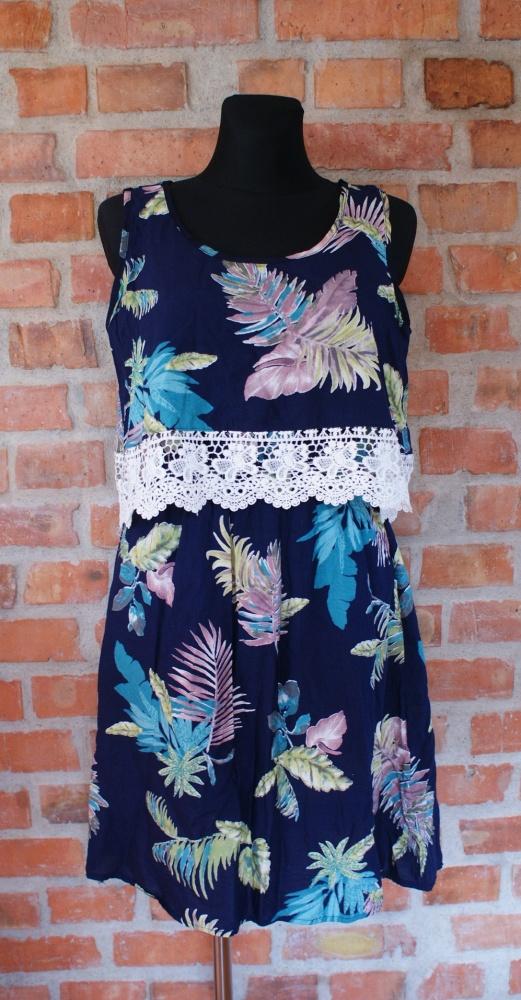 Suknie i sukienki sukienka letnia z falbanka i koronką