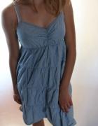 niebieska bawełniana sukienka jeansowa m