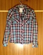 Koszula w kratkę flanelowa XS S 34 36 niebieska fioletowa długi rękaw dekolt V