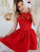 Jokastyl Sukienka koronka bez rękawa falbany czerwona...
