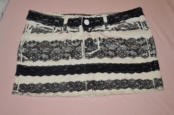 Spódniczka jeansowa biało czarna