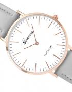 Zegarek Geneva Platinum na szarym skórzanym pasku