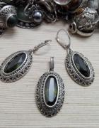 piękny srebrny komplet z oliwinami srebro próby 925