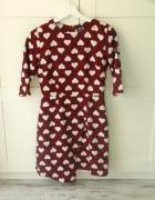 sukienka w serca asymetryczna s bordowa asos