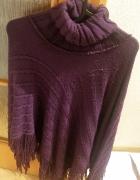 fioletowe ponczo z frędzlami rozmiar XL