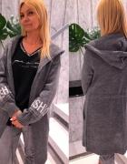 Ciemno szary długi sweter kardigan