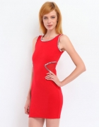 Śliczna czerwona sukienka siateczka i kamienie 38M