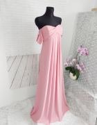Szyfonowa Maxi ASOS pudrowy róż XS S ciążowa szyfonowa wesele ś...