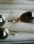 kolczyki i pierścionek srebro z hematytem