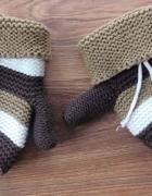 Brązowe grube rękawiczki w paski