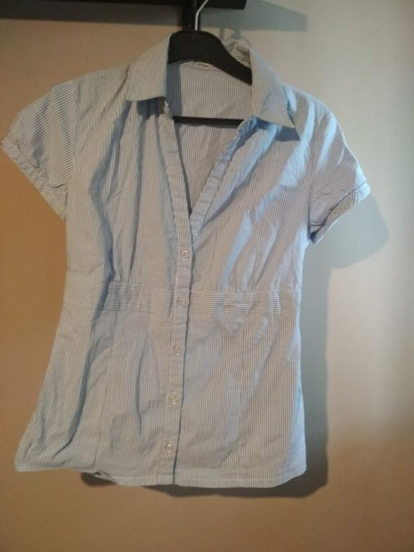 Elegancka koszula pimkie w paseczki biało niebieskie M...