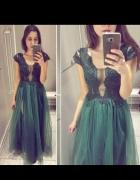 Sukienka Lucky dots butelkowa zieleń