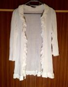 Narzutka biała lejący luźny materiał falbanki zdobienia rękaw 3 4 XS S M L 34 36 38 40 New Look