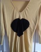 Żółta bluzka tunika z sercem...