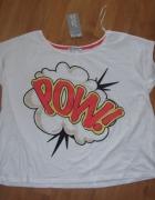 Nowy crop top tshirt krótki L XL 40 42 Terranova oversize koszulka