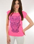 Neonowy róż bluzka bawełniana rozmiar s m l xl hit