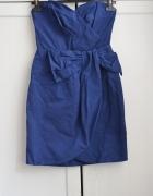 Kobaltowa sukienka bez ramiączek M 38