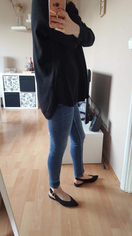 Bluzki czarna bluzka z dzianiny z długim rękawem