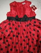 LADYBIRD czerwona sukienka w grochy roz 92