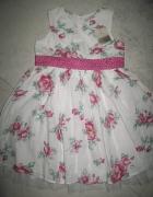 NEXT biała sukienka w fioletowe kwiaty roz 92