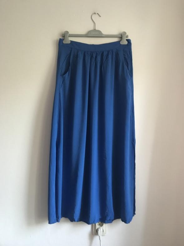 Spódnice Chabrowa spódnica maxi M kieszenie rozcięcia
