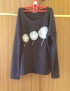 Bluza XL XXL czarna nadruk kwiaty elastyczna luźny