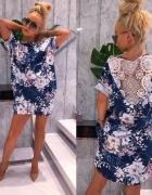 Sukienka tunika w kwiaty oversize