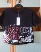 Nowa z metką koszulka Reserved crop top bluzka tshirt z nadrukiem