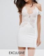 Biała sukienka z koronką koronkowa cold shoulders mini bodycon ...