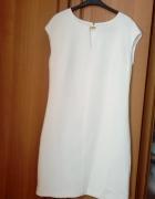 Wyprzedaż biala klasyczna sukienka ze złotą blaszką 36...