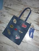 Jeansowa torba torebka naszywki