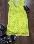 Neonowa koronkowa sukienka zara