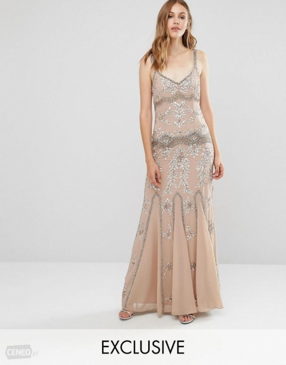 dfaaf193d4 Asos maxi nude zdobiona sukienka glamour rybka w Suknie i sukienki ...