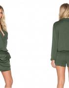 Nowy elegancki kombinezon zieleń spódnico spodnie