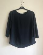 Granatowa elegancka bluzka satynowa M Cubus rękaw 3 4