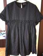Zara czarna sukienka kombinezon poszukiwana S falbanki