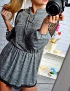dzianinowa sukienka koronka czarna