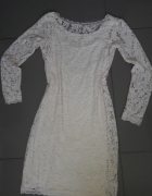 koronkowa sukienka pudrowy róż M pink...