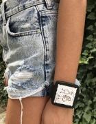 stamps zegarek ramka pasek para biały love damski
