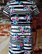 atmosphere sukienka kwiaty paski zip 36 S