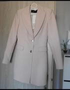 Zara nowy płaszcz pudrowy nude jednorzędowy