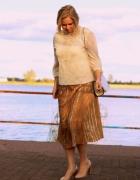 Złota plisowana welurowa spódnica H&M L