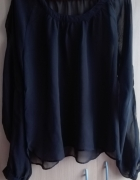 Czarna szyfszonowa bluzka L
