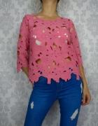 Ażurowa różowa bluzka Next
