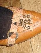 Skórzane miodowe buty z czubkiem WOJAS...