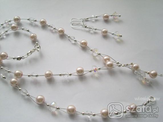 CUDO KOMPLET j róż perły kryształy