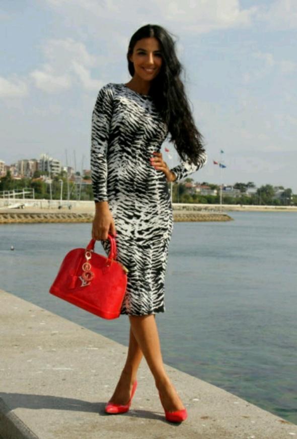 Eleganckie sukienka zebra